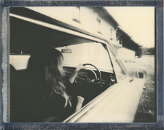 8x10 Leaving Home (sycamoretrees) Tags: woman film girl car analog vintage polaroid pinhole 8x10 integral largeformat opel impossible pq opelrekord instantfilm integralfilm silvershade marianrainerharbach pq201212