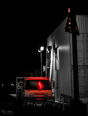 Reflected (Tbone Photography) Tags: red colour reflection sign night port stop lincoln peninsula selective eyre