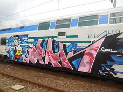 acta non verba (en-ri) Tags: train writing torino graffiti rosa crew arrow rosso azzurro nero omino sdk opak