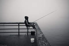 Fishing foggy or not-03395 (Gene Trent) Tags: pier bucket fishing chair sitting waterfront foggy pole