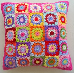 patchwork granny square cushion cover (riavandermeulen) Tags: colors colorful squares crochet patchwork granny madebyria