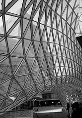 (danae....) Tags: sky urban blackandwhite glass architecture facade frankfurt structure onexplore gridshell