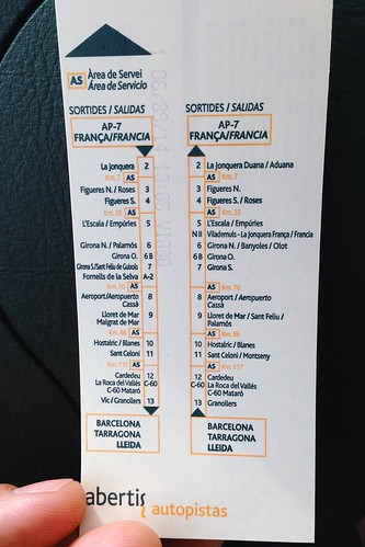 Талон платной дороги в Испании содержит последовательность съездов. Во франции это просто безымянный кусок бумаги.