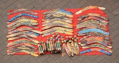 Boomerangs and Clapping Sticks (mikecogh) Tags: music colour forsale display painted sydney circularquay aboriginal instruments boomerangs clappingsticks