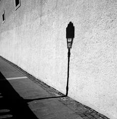 Pau Shadows / EXPLORED NOVEMBER 6, 2014 (Austin Beeman) Tags: travel france 6x6 square streetphotography 120film kodaktrix pau 2014 blackwhitefilm fujigf670
