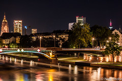 Frankfurt am Main at Night / Frankfurt, Germany (Niels Photography) Tags: city urban tower skyline night canon river germany deutschland eos tv am long exposure cityscape cathedral frankfurt main towers bridges 500d opernturm kaiserkarree hochviertel
