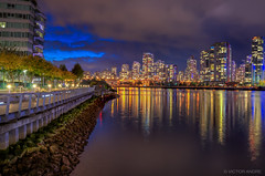 Yaletown at Night (maestro17ca) Tags: longexposure nightphotography reflection vancouver clouds landscape lights twilight downtown cityscape waterfront seawall citylights yaletown falsecreek bluehour condos hdr olympicvillage lowermainland nikon18105vr nikond7000