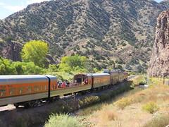 Rails Along the Arkansas (Patricia Henschen) Tags: royalgorgeroute royalgorge canoncitycolorado arkansasriver railroad locomotive vistadome denverriogrande usroute50