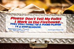 Please Don't Tell My Folks I Work in the Firehouse... (Thomas Hawk) Tags: california usa unitedstates unitedstatesofamerica bumpersticker fireengine halfmoonbay americanlafrance dreammachines dreammachines2010