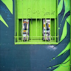 Payphones behind bars (ADMurr) Tags: 6x6 tlr film rollei la bars kodak just mf reach through behind eastside phones ektar
