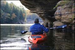 Grayson Lake Kentucky State Park - Bob (Mark Birkle) Tags: park usa lake fall water yellow photo sandstone kayak state image kentucky ky scenic picture cliffs grayson kayaking grotto kayaker 2014