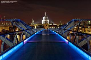The London Millennium Footbridge  with Saint Paul's cathedral
