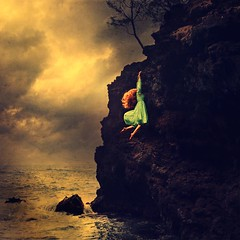 to life, with hope (brookeshaden) Tags: ocean sea cliff beach water fairytale hawaii reaching falling climbing story hana conceptual whimsical storytelling fineartphotography darkart fairytalecharacter brookeshaden