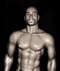 Tyson (farmspeedracer) Tags: gay boy bw man black male men naked nude actionfigure goatee action muscle hunk totem figure billy workout collector