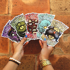 Stickers!! (Positively Monstrous) Tags: barcelona streetart pasteup art colors set illustration creativity graffiti design sticker drawing characters monsters pegatinas zimpop