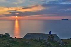 Watching (Nige H (Thanks for 7.5m views)) Tags: sunset channel sea bristolchannel somerset brean breandown island girl sunsetwatching reflection nature landscape seascape england sky cloud naturalbeauty