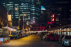 Night Time Market Colors (matthewkaz) Tags: pikeplacemarket pikeplace market publicmarket lights nightlights light night dark street cobblestone cars city downtown urban seattle washington 2017 road