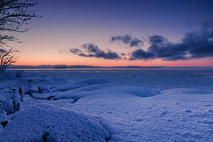 Lake Champlain (Jack Wassell) Tags: lakechamplain burlingtonvt vermont vt lake ice winter snow frozen water clouds sunset light color stars cold canon jackwassellphotography