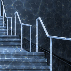 stepping out of the depths (msdonnalee) Tags: stairs stairway escalera scala escalier escada bannister waterreflectionfilter digitalfx magicunicornverybest artdigital