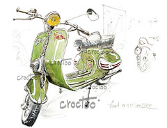 La Vespa, aux Puces Moto de Niort (Croctoo) Tags: croctoo croctoofr croquis aquarelle watercolor vespa scooter mecanique niort