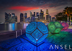 PRIMARY (draken413o) Tags: singapore ilight 2017 cityscapes skyline skyscrapers urban places scenes sunset hybycozo art installation asia travel destinations canon 5dmk4 tilt shift amazing colourful rgb wow unique