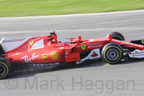 Sebastian Vettel in his Ferrari at Formula One Winter Testing 2017