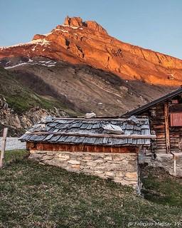 Sunset on the mountain peak