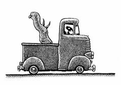 Hauling (Don Moyer) Tags: truck vehicle ink drawing moleskine notebook moyer donmoyer brushpen cargo