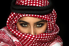 Bloodlines (DesertWindsPhotography) Tags: red white black love makeup art photography greeneyes eyebrows culture tradition arabia saudiarabia qatar bahrain kuwait emirates desert eyes women veil عيون السعودية الكويت الإمارات الشماغ