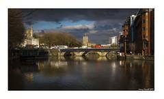 Bristol Bridge (zolaczakl) Tags: bristol bristolbridge 2017 february fujix100s photographybyjeremyfennell cityscenes reflections castlepark maryleport churches harveynichols traffic lightshadow shadows winterlight stpeterschurch