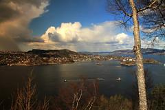Contrasts, Bergen Norway (JensRongved) Tags: nature rural bridge seascape clouds sky light sun rain fjords askøy photo ppicture landscape bergen norway norwegen rongved kvarven sotra hordaland vestlandet 挪威 卑爾根 норвегия берген