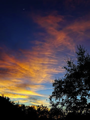 Nature's Artistry (brucecarlson66) Tags: sunset austin texas dripping springs hill country color blue yellow orange cloud stream live oak tree sillouette sliver moon peace comfort beauty