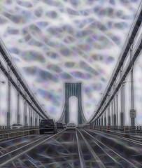 Krackle Krossing (Jersey JJ) Tags: krackle krossing fractalius vz narrows bridge nyc new york city driverpic j2 g11 verrazanonarrows verrazano suspension
