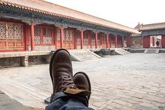 The Forbidden City - Beijing (virtualwayfarer) Tags: beijing china capital unesco unescoworldheritage worldheritage worldheritagesite asia asian street streetphotography imperial empire imperialpalace palace mingdynasty qingdynasty 紫禁城 chinese architecture chinesearchitecture adventure travel travelingboots bootshot travelingbootshot feet crossedfeet boots leatherboots spiritoftravel tourism alexberger travelphotography canon canon6d spring march