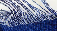 Blue wave / Vague bleue (In Explore, March 28, 2017) (M. Carpentier) Tags: blanc bleu blue fabric macromondays tissage tissus weawing white clothtextile textile cloth