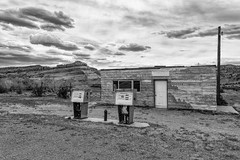 Abandoned on Hwy 128 (dshoning) Tags: utah station gas buttes moab abandoned bw