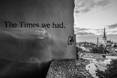 Famous lost words (McQuaide Photography) Tags: tallinn estonia europe northerneurope sony a7rii ilce7rm2 alpha mirrorless 1635mm sonyzeiss zeiss variotessar fullframe mcquaidephotography adobe photoshop lightroom tripod manfrotto light longexposure outside outdoor viewpoint elevated kohtuotsa oldtown unesco heritage old toompeahill medieval architecture building structure skyline churchtower spire oldbuildings city dusk twilight exterior tower oldbuilding roof rooftop roofs wideangle words wall graffiti urban motionblur blackandwhite bw mono monochrome