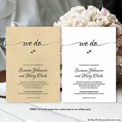Cute 'We Do' wedding invitation - print on kraft paper for rustic look or on white card for that elegant flavor http://etsy.me/2oBak5J #wedding #rustic #elegant #invitations #wedo #editable #template (maypldigitalart) Tags: wedding invitations rustic editable wedo elegant template