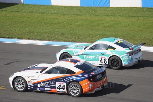 Finley Green and Jenson Dineen in Ginetta Junior Race One during the BTCC Weekend at Donington Park 2017