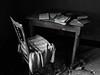 Friche. (julien ( l'ours )) Tags: panasonic dmc fz50 friche abandonnée abandonned place maison viron belgique belgium blanc black white chaise chair table livre book bellegem decay decaying urbex urban exploration
