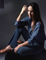 Tiffani Blue 2 (neohypofilms) Tags: portrait series blue bleu denim style fashion retro vintage jeans hair long shoes clogs mules slippers 70s 60s hippie color colour 35mm film slr nikon f studio model classic pinup