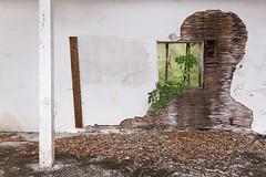 Schatten an der Wand (derChambre) Tags: wand schatten verfall fenster weis grün säule portrait verlassen marode bröckelt putz industriesafaride ef1635f4 canoneos6d