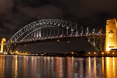 Sydney Harbour Bridge at night (PJ Reading) Tags: bridge light cloud reflection tourism water night evening exposure harbour famous sydney scenic australia landmark tourist nsw kirribilli milsonspoint