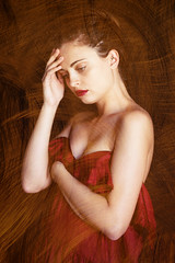 Debby (lucrecia lee) Tags: red portrait woman colour girl beautiful beauty painting sadness gold bigeyes golden hand sad longhair colourful shoulders fulllips