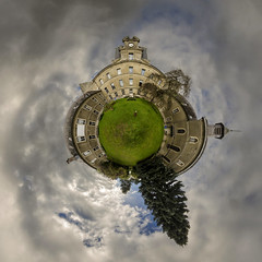 La cour de P.A.F. // The Courtyard of P.A.F. (Alexander JE Bradley) Tags: panorama paris france church facade square photography globe nikon abby courtyard fisheye 14mmf28 planet mansion fr convent hdr distortedperspective paf 360degrees 360 stereographic picardy ptgui aisne littleplanet nodalninja performingartsforum miniplanet saintermeoutreetramecourt d7000 strographique projectionstrographique stereographicpanoramas alexanderjebradley littleplanetpanoramas aisnepicardy