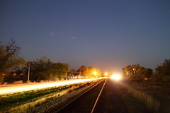 Headlights and train tracks (jpstanley) Tags: longexposure utah twilight traintracks lensflare leamington railroadtracks