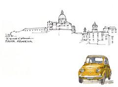 Sicile 2014, Piazza Armerina (gerard michel) Tags: auto sketch fiat sicilia croquis piazzaarmerina