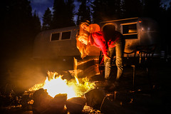 Keep The Home Fire Burning (The Noisy Plume) Tags: camping camp night fire airstream refurb airstreamtrailer refurbishedairstream