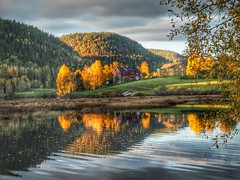 Autumn light. (la1cna) Tags: autumn lake color fall nature norway reflections landscape norge telemark hst