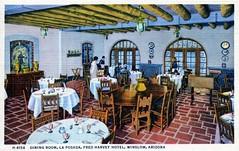 Dining Room La Posada Fred Harvey Hotel Winslow AZ (Edge and corner wear) Tags: santa railroad arizona southwest vintage hotel design la pc inn designer postcard mary az lodge company architect harvey fred fe posada winslow colter